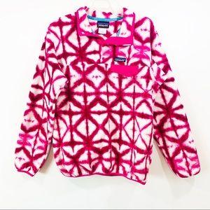 PATAGONIA Synchilla Pink White Tie Dye Popover L
